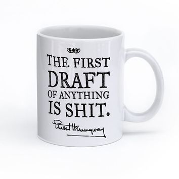 Hemingway The First Draft Quote Mug