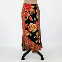 Plus Size Boho Skirt Women 90s Floral Skirt Long Maxi Skirt Grunge Skirt XL Hippie Skirt Print Size 16 Skirt Vintage Clothing Women