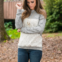 Front Of The Lace Sweater, Gray