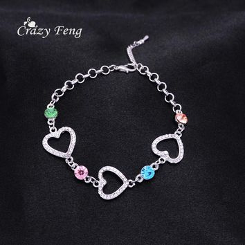 Cute Romantic Heart Chain Bracelets Silver Color Bangles with Crystal Cute Accessories for Women Friendship Gift Free Shipping