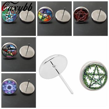 vintage handmade Colored five-pointed star stud earring Pentagram Occult wiccan glass cabochon dome earrings Jewelry,gift CE239