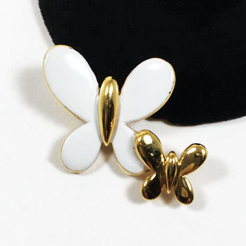 White Enamel Butterfly Lapel Pin Vintage 1980s 1990s Gold Tone Butterflies Jewelry