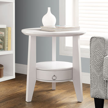 "Accent Table - 23""Diameter - White With 1 Drawer"