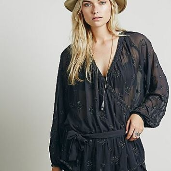 Free People Womens Embellished Wrap Tunic