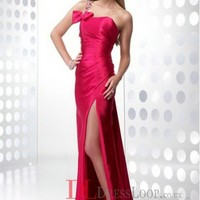 2014 New Styles A-Line One Shoulder Elastic Woven Satin Red Long Prom Dress/Evening Gowns With Beading VTC775