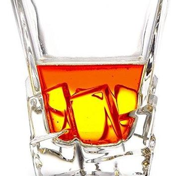 Whiskey glasses By Always Shining Set Of 2 Scotch Drinking Glasses For Alcoholic Beverages amp Cocktails ndash Stylish Bourbon Tumblers With Ice Cut Design ndash Comes With Forceps In An Elegant GiftReady Box