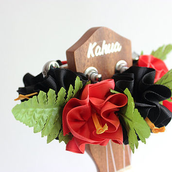 ribbon lei for ukulele / black & orange pink hibiscus / ukulele accessories/ ukulele decor/ mandolin/ banjo/ hawaiian lei /grosgrain ribbon/