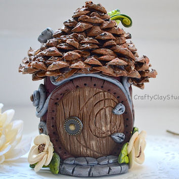 Fairy House - Fairy Sculpture - Clay Sculpture - Fairy Garden Kit - Fairy Garden - OOAK Fairy House - Fantasy Sculpture - Polymer Clay House