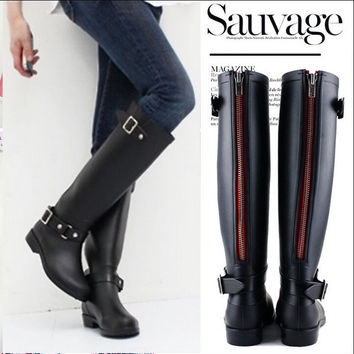Women Flat Wellies Waterproof Red Zipper Rain Snow Knee High Mid Calf Rain Boots = 1946910212