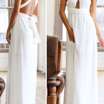 White Convertible Strap Backless Maxi Dress