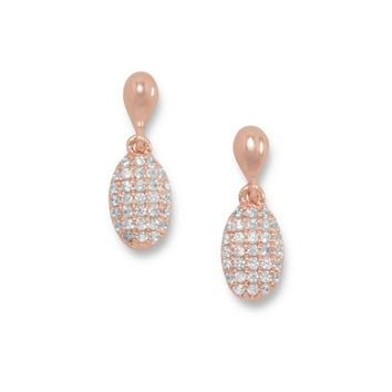 14 Karat Rose Gold Plated Pave CZ Drop Earrings