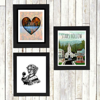 STARS HOLLOW 5 - gilmore girls - art print - rory - stars hollow - coffee - dragonfly - yale - connecticut - mother - daughter - carole king
