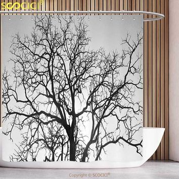 Funky Shower Curtain Forest Dead Old Branches Arms Limbs Sadness Symbol Tree of Life Offshoot Picture Grey Black Bathroom Decor
