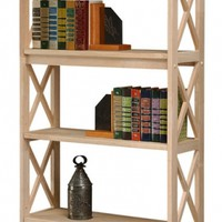 Hoot Judkins Furniture San Francisco San Jose Bay Area Whitewood Bookcases for Kids  Shaker Solid Parawood Bookcase with X Side Pattern 72h Unfinished