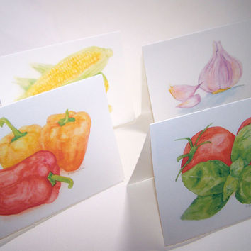 Watercolor Garden foods Note Cards Set