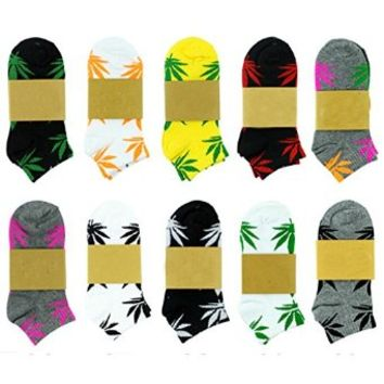 SDBING 5 Pair Marijuana Weed Leaf Printed Low Cut Ankle Cotton Socks