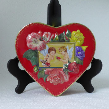 Vintage Valentine Tin, Heart Shaped Tin, Red Gold Heart, Cupid Tin, Embossed Floral Tin, Valentines Day Decor