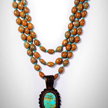 J. Forks 3 Strand Turquoise Inlaid Peach Pit Necklace with Kingman Turquoise Pendant