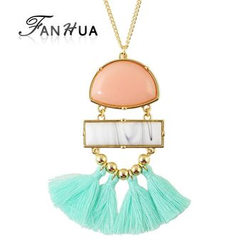 FANHUA Boho Ethnic Jewelry Vivid Pendant Stone Necklace Long Gold Color Chain with Cute Tassel Pendant Necklace
