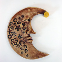 Man in the Moon Ceramic Wall Art