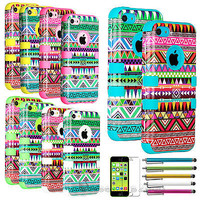 Colorful Heavy Duty Hybrid Rugged Hard Case Cover For iPhone 5C C +Film+Stylus