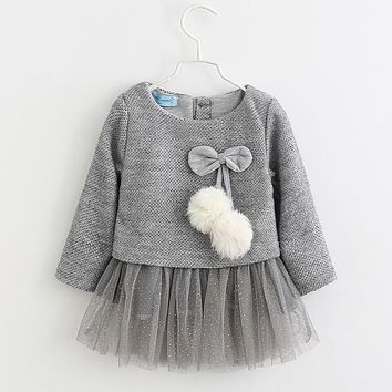 CHCDMP Autumn Girls Dresses Gray Long Sleeve Kids Tutu Velvet Infants Thick Dress Double Level Fake Two Piece Children's Clothes