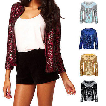 Vogue Women Sequins Jackets Three quater sleeve Fashion Coats Outwears HU