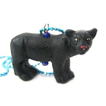 Realistic Black Panther Shaped Porcelain Ceramic Animal Pendant Necklace | Handmade