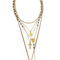 The Gold Vera Layered Rosary & Cross Necklace