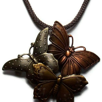 Butterflies Necklace Repurposed Vintage Jewelry