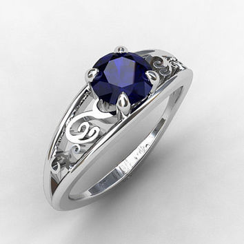 Blue sapphire ring, white gold, engagement ring, filigree, lace engagement, solitaire, sapphire engagement, blue, wedding ring