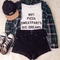 Wifi Pizza Sweatpants Big Dreams T-Shirt