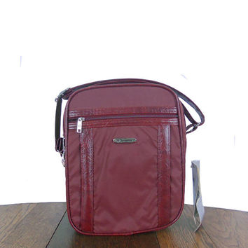 Vintage Samsonite Bag 1980s The Survivor Gagdet Travel Bag Wine Berry Color Shoulder Strap Two Compartments and Front Pocket - New Old Stock