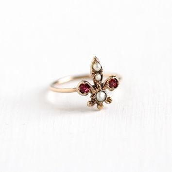 Antique 8k Rose Gold Fleur De Lis Ring - Vintage Edwardian Seed Pearl & Pink Garnet Do