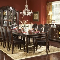 7 pc Palace collection dark brown finish wood with rope twist and tobacco leaf carvings table dining table set