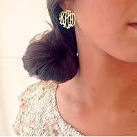 Monogram Post Earrings