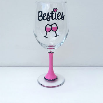 Besties Best Friends hand-painted wine glass