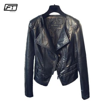 Fitaylor Spring Ladies Motorcycle Leather Jackets Women Turn-down Collar Zipper Slim Black Moto & Biker Jacket Female
