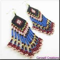 Native American Beadwork Seed Bead Earrings in Multicolored Fringe