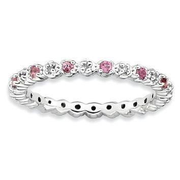 Sterling Silver Stackable Expressions Pink Tourmaline & Diamond Alternating Eternity Ring