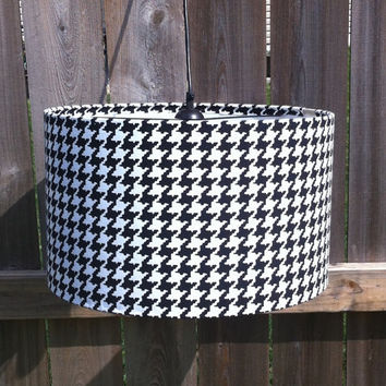 "Drum lamp shade in Houndstooth fabric 14"" X 10"" for lamp or hang as pendant light"