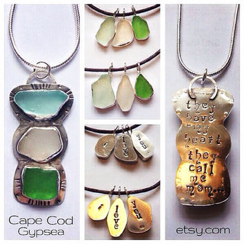 RESERVED Sea Glass Mother & Daughters Matching Stamped Necklaces Pendants Charms
