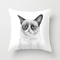 Grumpy Cat, Tard, Tardar Sauce, Drawing Throw Pillow by Olechka