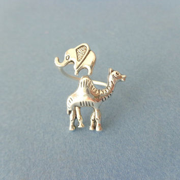 silver camel elephant ring wrap style, adjustable ring