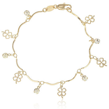 Gold Overlay Bracelet with Dangling Four Leaf Clover Charms and Clear Stones