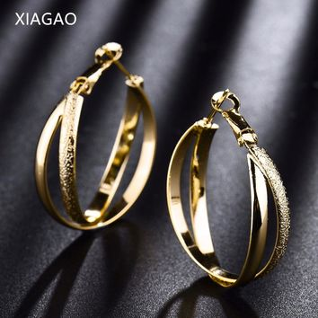 XIAGAO Vintage Bohemia Gold Color Big Circle Hoop Earrings for Women Steampunk  Ear Women Earring Set Party Jewelry  XGE405