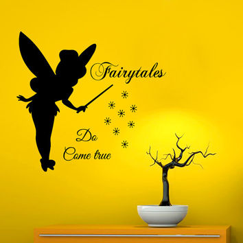 Tinkerbell Wall Decals Quote Fairytales Do Come True Fairy Dust Home Vinyl Decal Sticker Girl Art Kids Nursery Baby Room Bedding Decor kk769