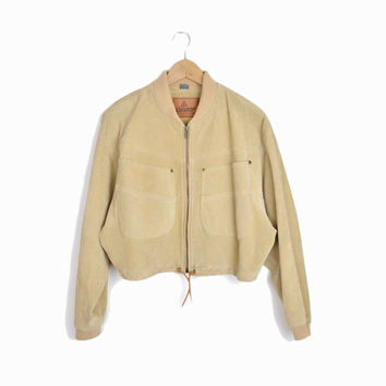 Vintage Cropped Suede Leather Jacket in Light Tan - Oversized Pockets - women's large