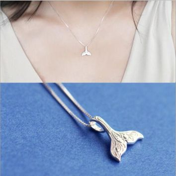 Temperament Beautiful Cute Mermaid 925 Sterling Silver Jewelry Fish Tail Exquisite Female Fashion Pendant Necklace  H261