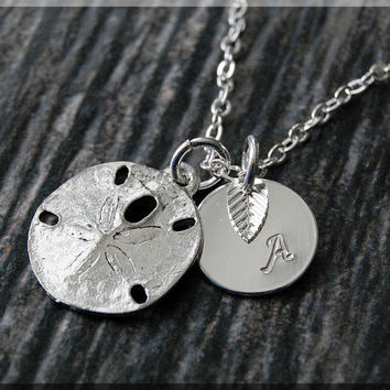 Silver Sand Dollar Charm Necklace, Initial Charm Necklace, Personalized, Sand Dollar Pendant, Ocean Jewelry, Monogram Sea Life Necklace